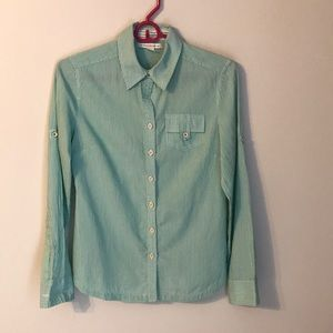 Women's green and white stripe button down shirt